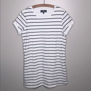 Lulus White Black Striped Short Sleeve Dress